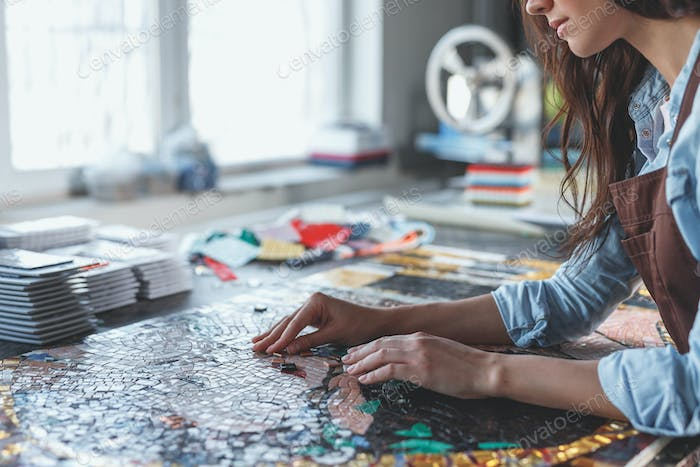 Young girl at work in studio
