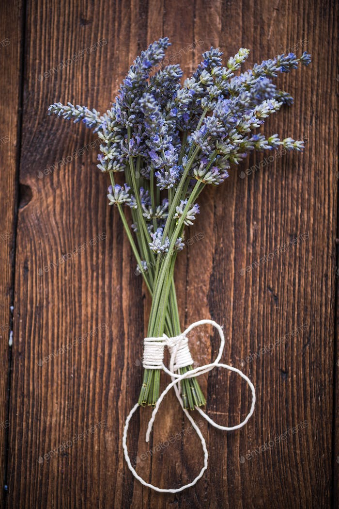 drying fresh lavender, herb concept