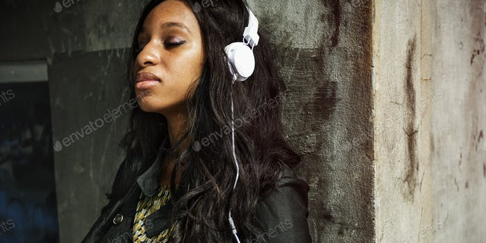 African Woman Listening Music Media Entertainment Relaxation Con
