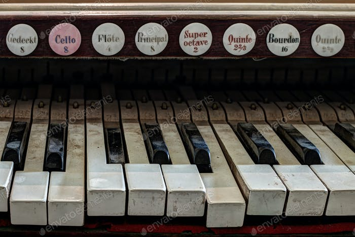Detail of old, broken and dusty organ keys