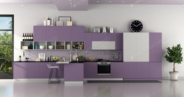 Modern purple and white modern kitchen