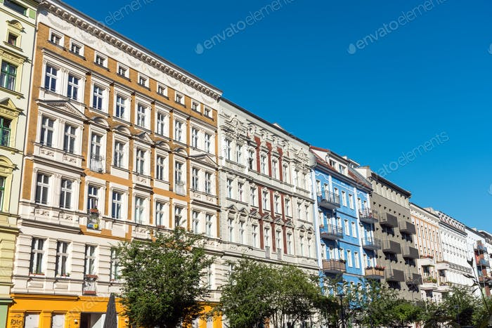 Renovated old apartment buildings on Berlin