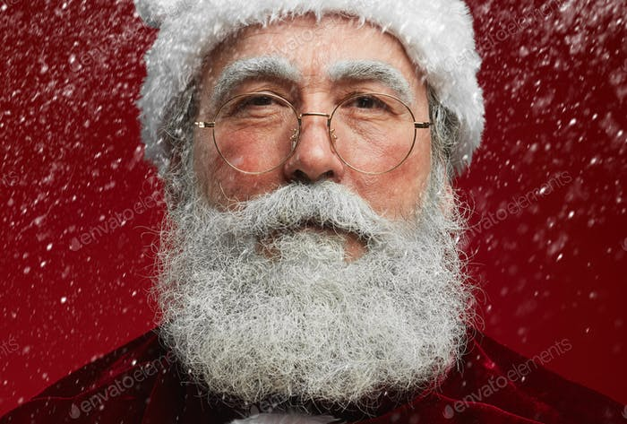 Portrait of Santa Claus with Snow