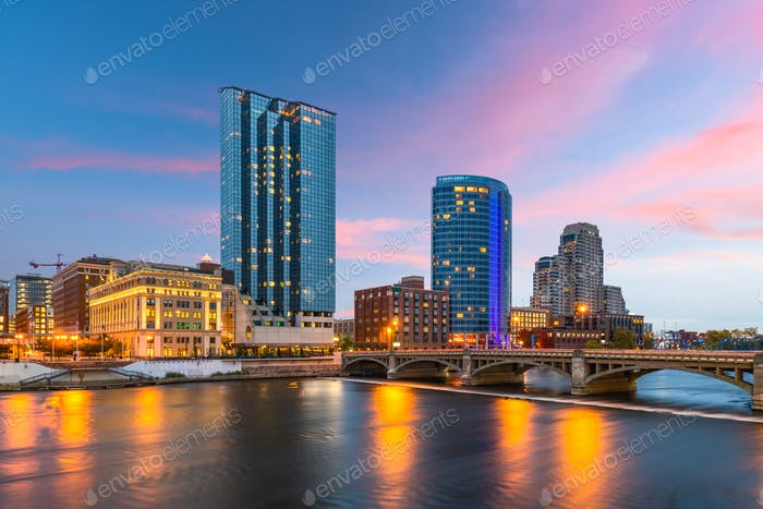 Grand Rapids, Michigan, USA Downtown Skyline