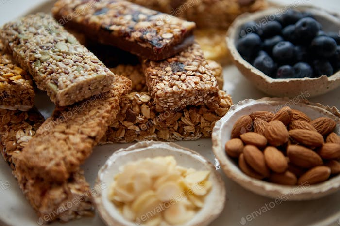 Close up. Mixed composition of various energy nutrition bars