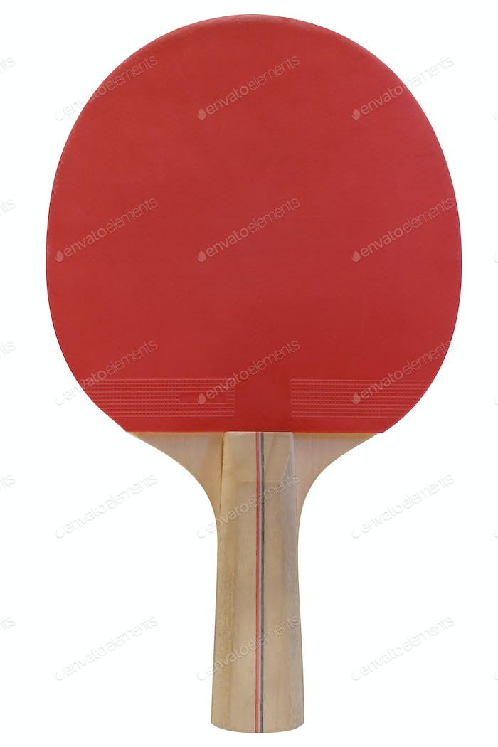 Ping Pong Paddle with Clipping Path Isolated on a White Background