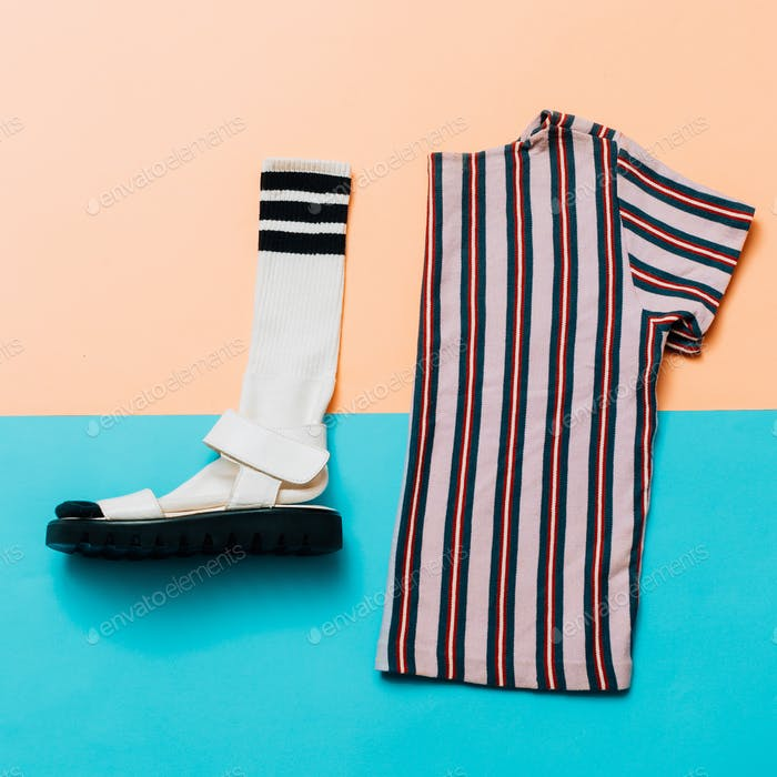 Sandals and socks. T-shirt. A strip of the trend. Summer minimal
