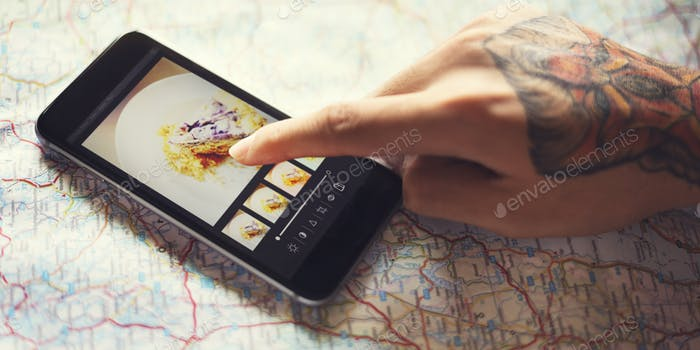 Digital Device Photography Editing Concept
