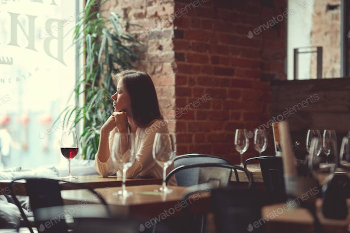 Young girl in an restaurant
