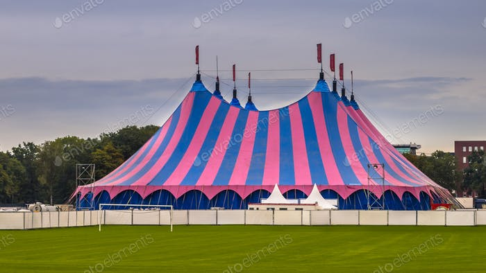 Circus tent striped summer sky