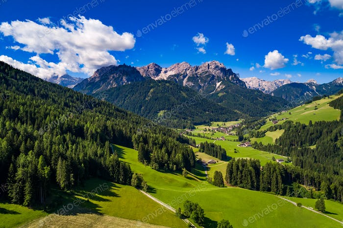Scenic view of the beautiful landscape in the Alps