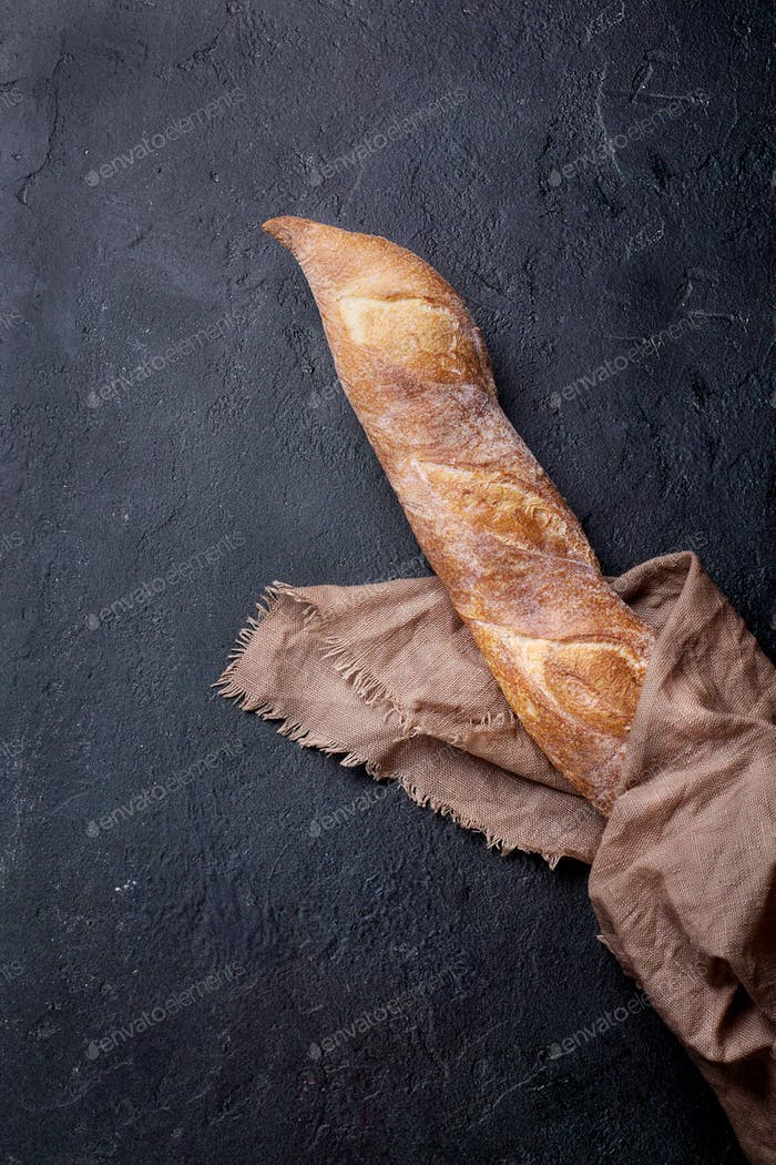 Home made rustic baguette