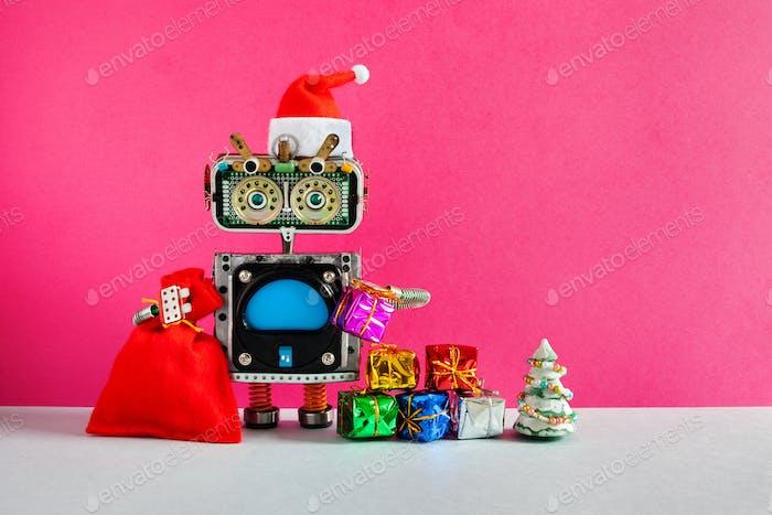 Weihnachts-Neujahrs-Weihnachtsmann Roboter-Grußkarte