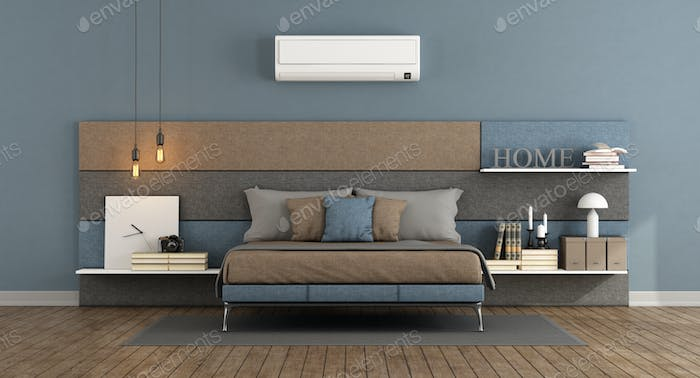 Modern master bedroom with air conditioner