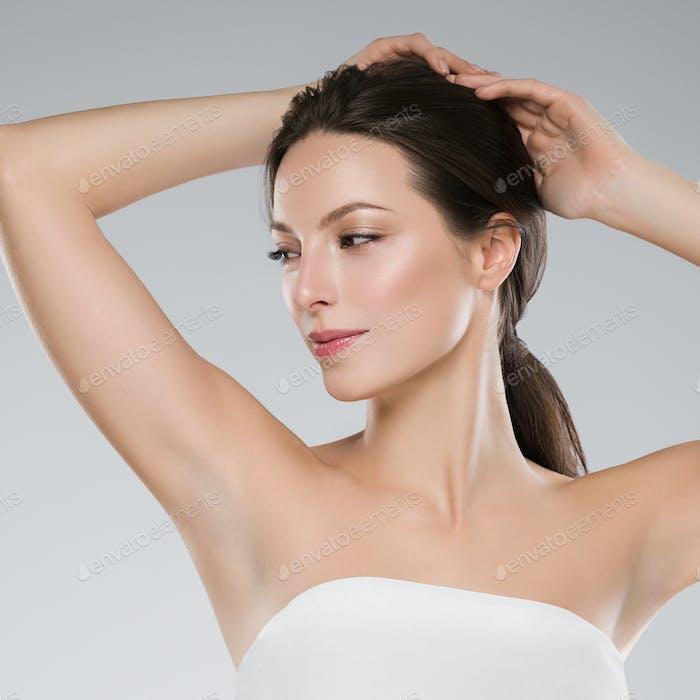 Armpit woman depilation concept hand up