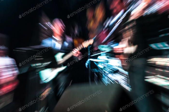 blurred musicians