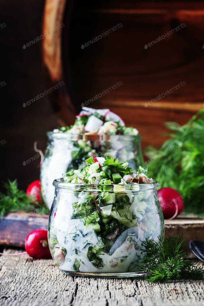 Summer cold soup with vegetables, herbs and yogurt