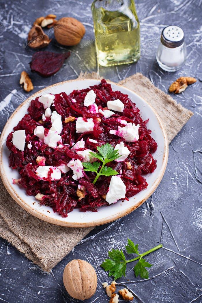 Healthy beetroot salad with feta and walnuts