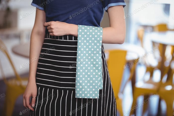 Midsection of young waitress with turquoise napkin at coffee shop