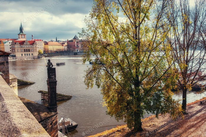 View from the Charles Bridge in Prague. Czech Republic.