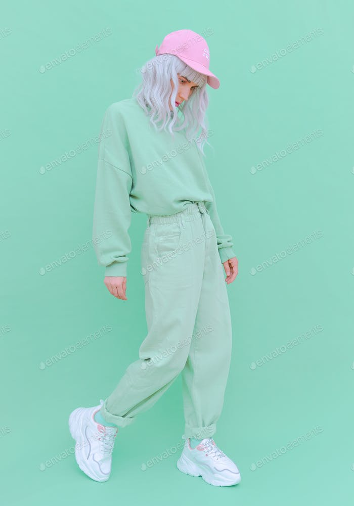Vanilla Mint urban style. Girl 90s aesthetic. Monochrome color trends.