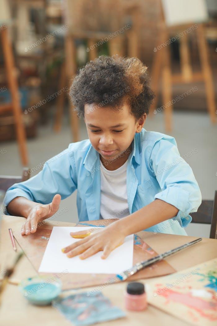 Little boy at art studio