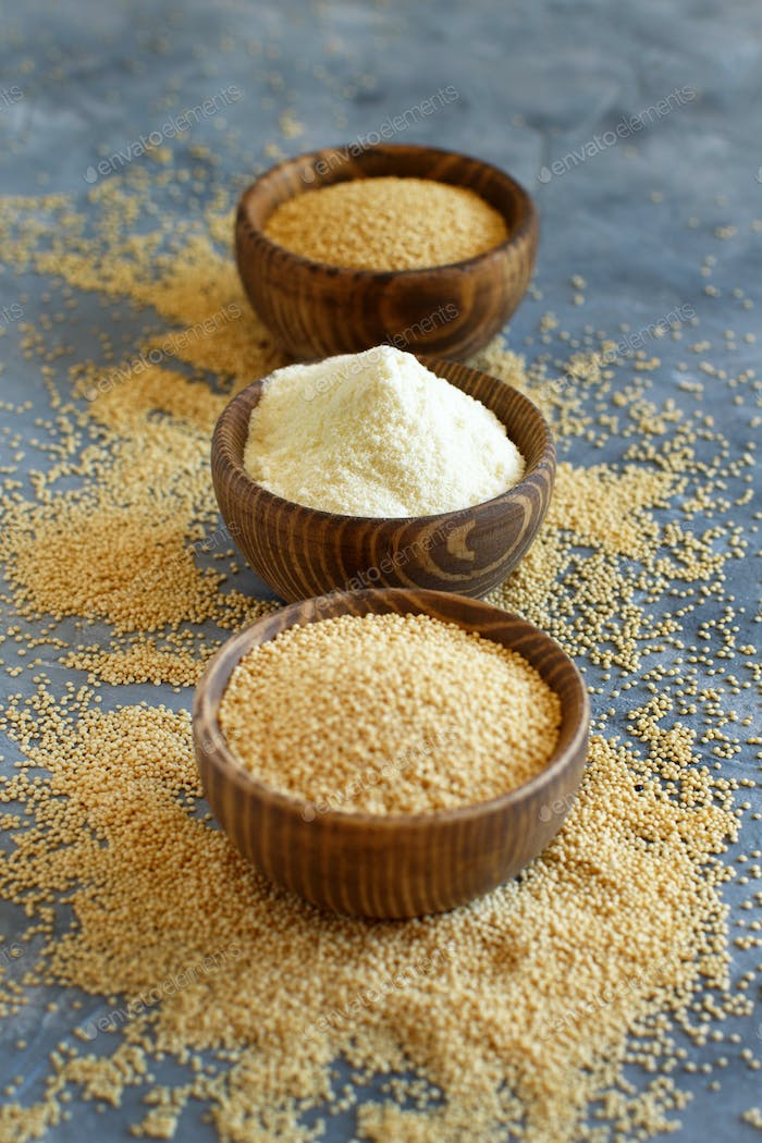 Bowl of raw Amaranth flour and seeds