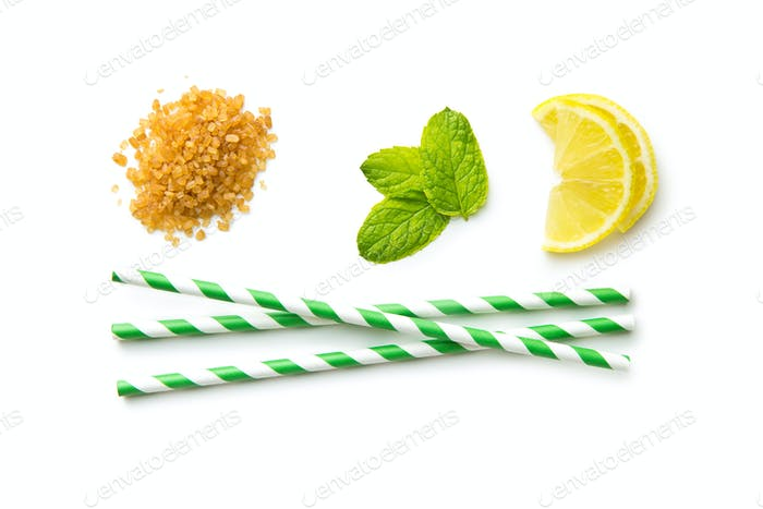 Mojito ingredients. Lemon, mint and cane sugar.