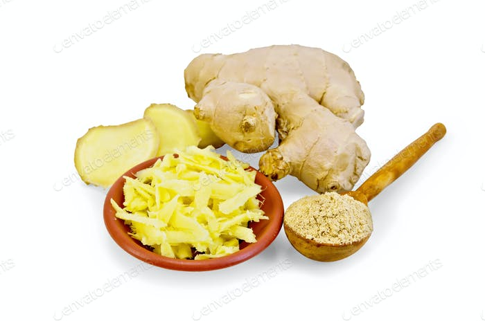 Ginger grated in a bowl with the powder in the spoon and root