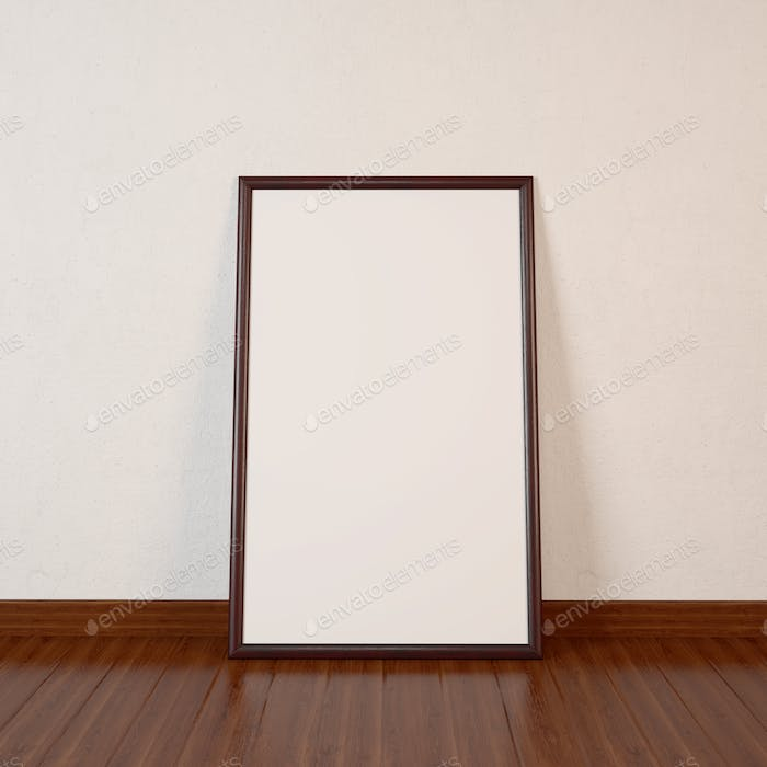Big blank Frame on dark wooden floor. 3d Illustration.