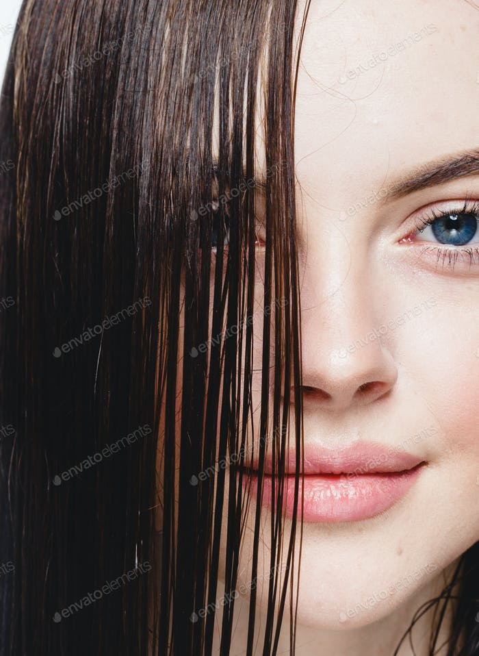 Wet hair woman portrait, beauty hair healthy skin care concept, beautiful model with wet