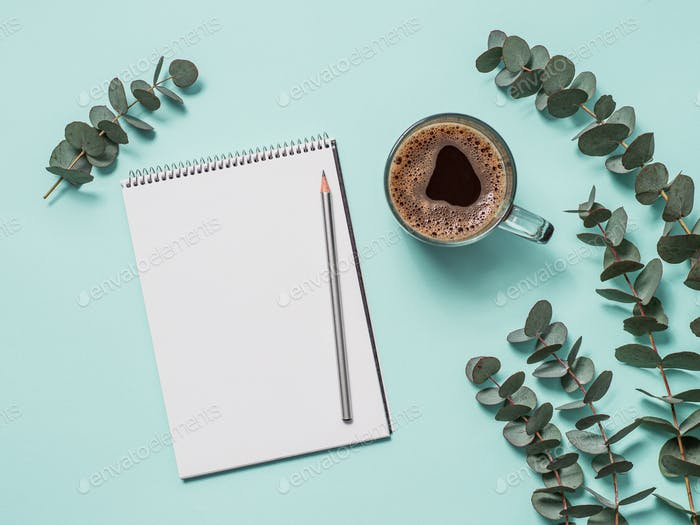 Blank paper notebook and female hands with pencil