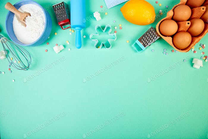 Baking or cooking ingredients. Bakery frame. Dessert ingredients and utensils