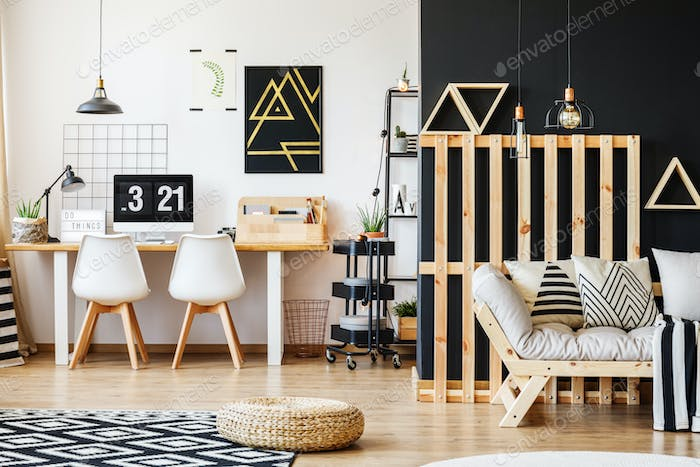 Interior with wooden pallet decor