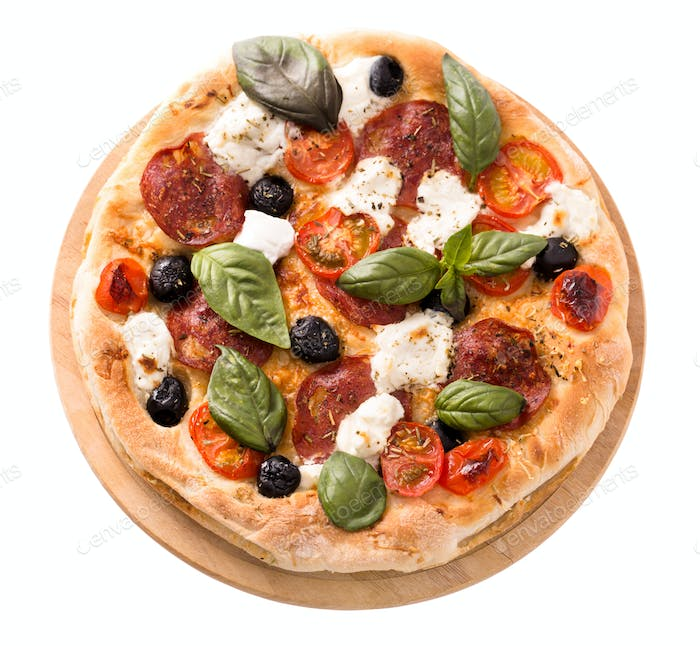 Pizza with salami and mozzarella top view isolated