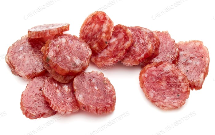 Salami smoked sausage slices isolated on white background cutout