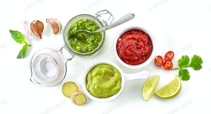 various homemade sauces