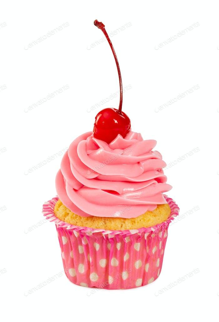 Cupcake mit rosa Cremei in Cocktailkirsche