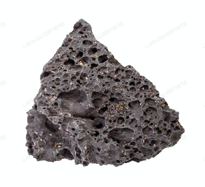 rough black Pumice rock isolated on white