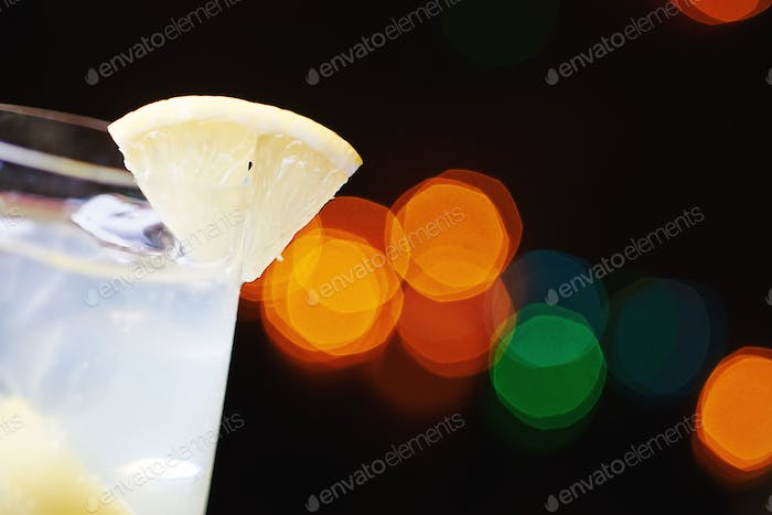 white tropical alcohol cocktail or lemonade with decoration.