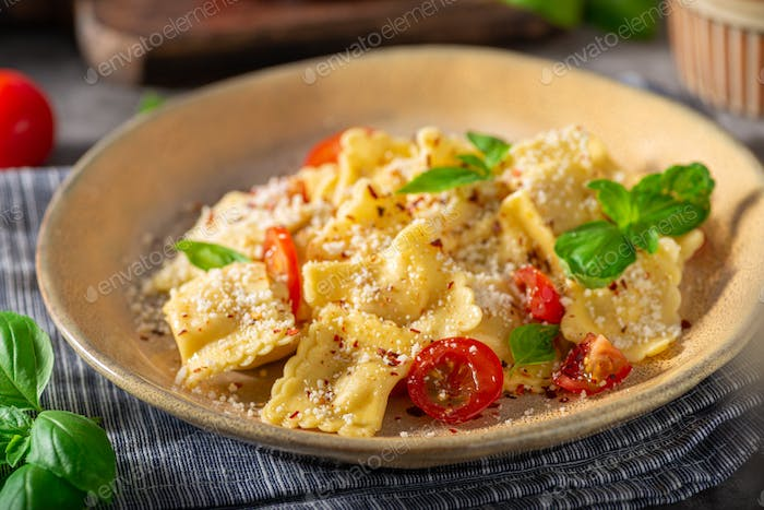 Ravioli with cheese and chilli