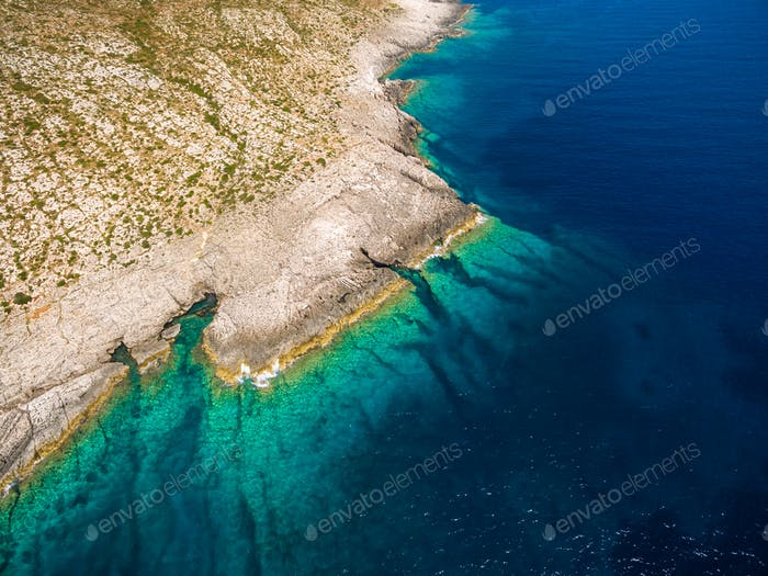 Aerial  view of Porto Vromi beach in Zakynthos (Zante) island, in Greece