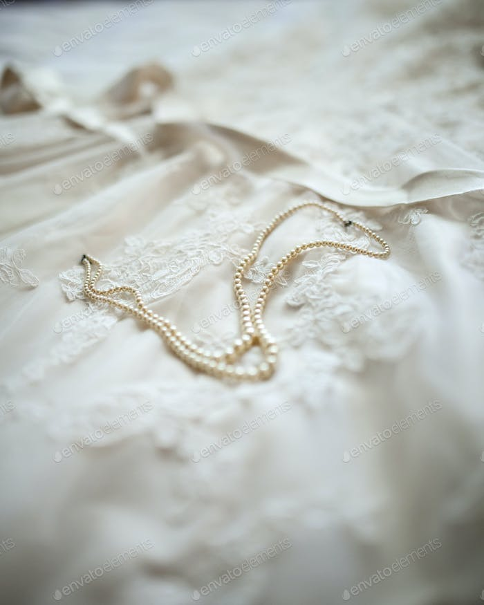pearls and wedding dress