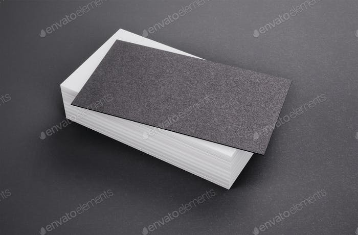 Black and white business cards on black background. 3d rendering