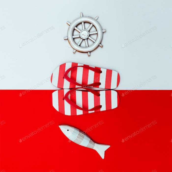 Flip-flops. Sea style. Minimal design
