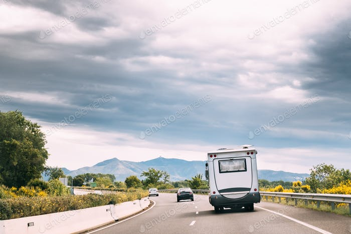 Motorhome Car Goes On Highway Road In Catalonia, Spain
