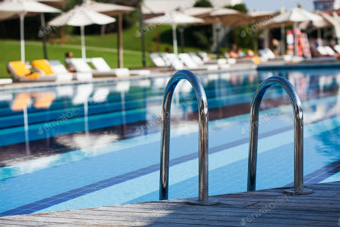 Outdoor large blue swimming pool