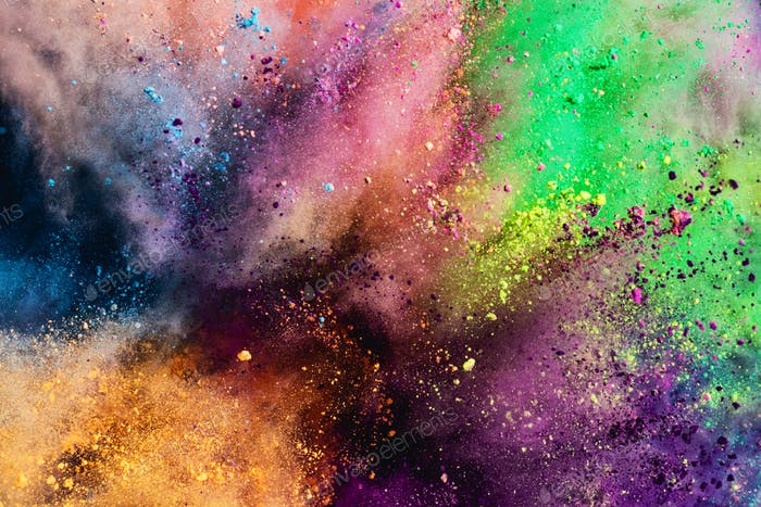 Colorful holi powder explosion.
