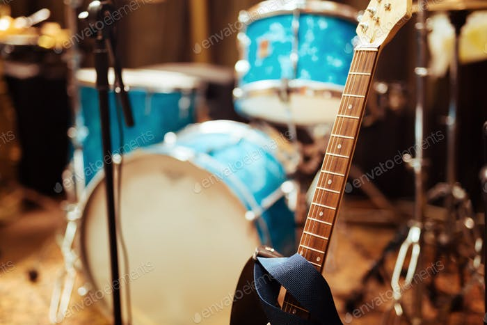 Guitar drums and studio equipment