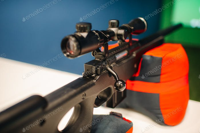 An air rifle for shooting at a shooting range is ready.Shooting range